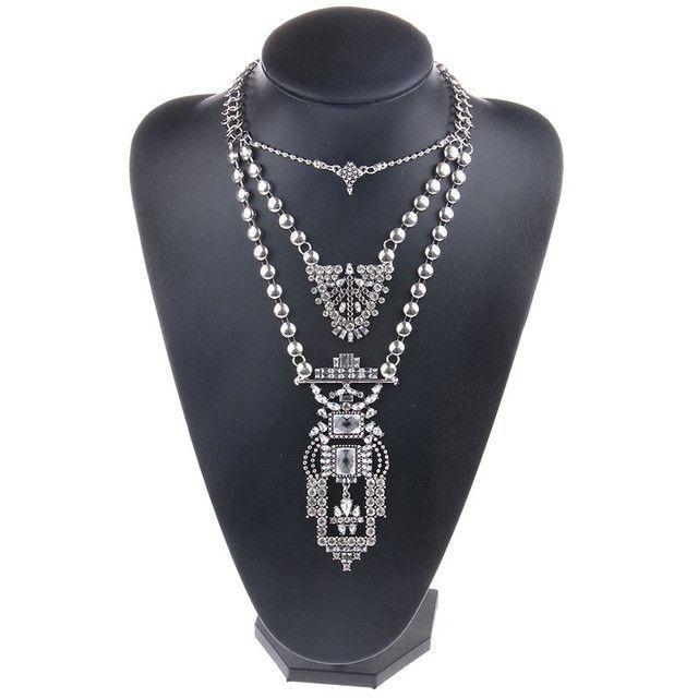 Necklaces & Pendants Vintage Crystal Maxi Choker Silver Collier Femme Boho Big Fashion Jewellery