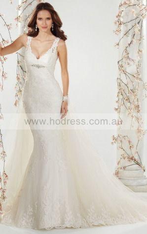 A-line Sleeveless Spaghetti Straps Buttons Floor-length Wedding Dresses feaf1048--Hodress