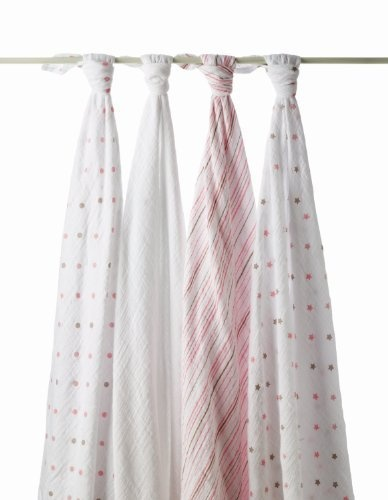 Aden by aden + anais 100% Cotton 4 Pack Muslin Swaddle Blanket, Oh Girl by aden + anais