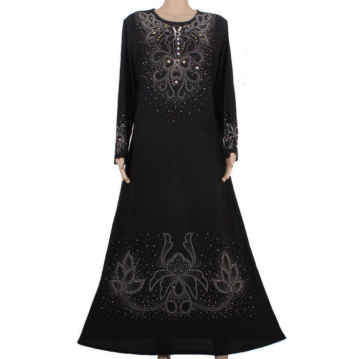 Muslim abaya kaftan dress Islamic clothing for women embroidery dubai abaya kaftan muslim hijab abaya dress black 55M8896