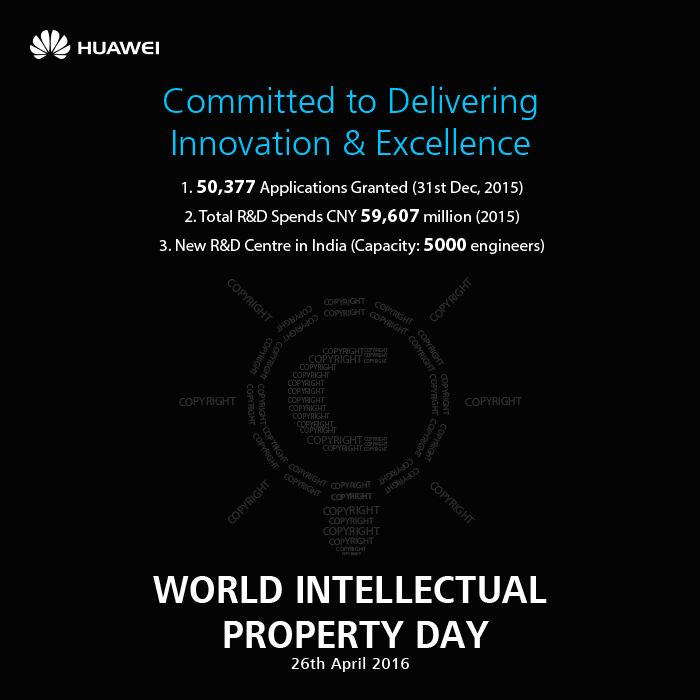 With significant investments in R&D, #Huawei is committed to bring innovation with #intelligence that changes lives for the better. #WorldIntellectualPropertyDay