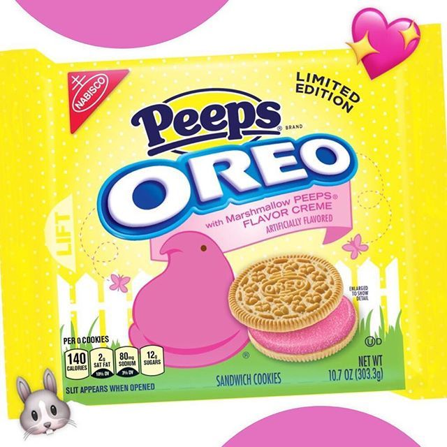 Brace yourselves! Oreo just released a NEW flavor: Peeps. I hear it's made up of two golden cookies and bright pink marshmallow Peeps-flavored creme covered in sugar. Available now at grocery stores and Walmart for a limited time only starting February 22nd! You're welcome! 😋💖🐰