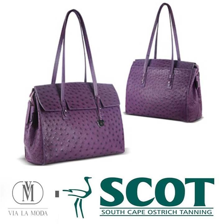 We love this gorgeous Via la moda purple #ostrichleather handbag. Ostrich leather is such a diverse product with many uses, but especially in the fashion industry #fashion #accessories