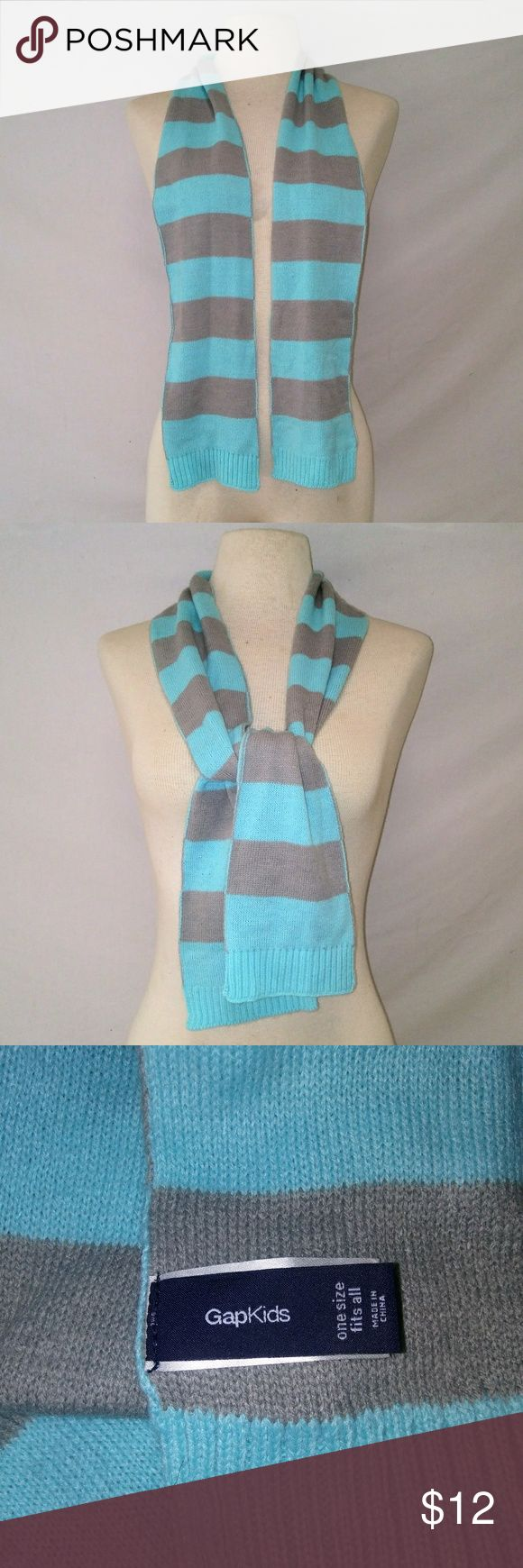 GAP Kids Striped Winter Scarf Turquoise & Gray Striped Soft Acrylic Scarf by Gap Kids.  In excellent used condition. From a smoke free home. Make an offer! BUNDLE & Automatically Get 20% Off on 2+ Items.  New Feature Alert: Bundle one or more items and I'll make you a customized awesome offer! Just bundle and wait for my offer... Up to 40% off - the bigger the bundle the bigger the savings! *2017 SUGGESTED USER* GAP Accessories