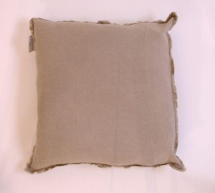 "Natural Fringed Linen Square Pillow Down Insert 20"" - Harrington Galleries"