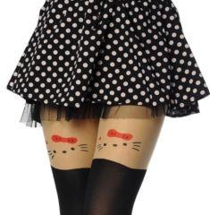 Bayan ince kedicik desenli dövmeli külotlu çorap