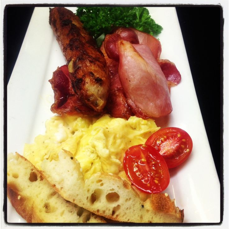 Fluffy Scrambled Eggs with Mt Barker Kransky Sausages, Bacon & Cheddar Cheese
