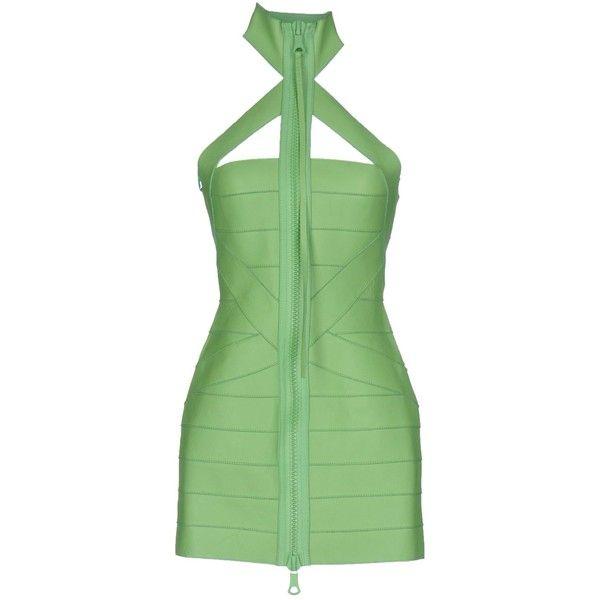 Dsquared2 Short Dress ($1,350) ❤ liked on Polyvore featuring dresses, light green, turtleneck dress, short dresses, turtleneck top, leather mini dress and green turtleneck