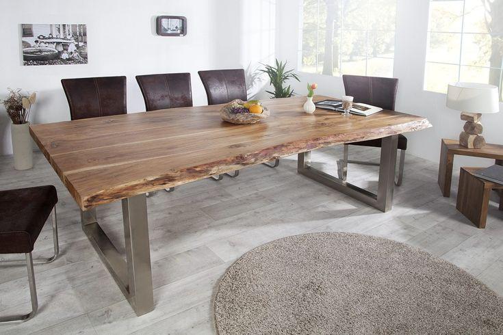 Table à manger en bois massif d'acacia Elissa 220 cm