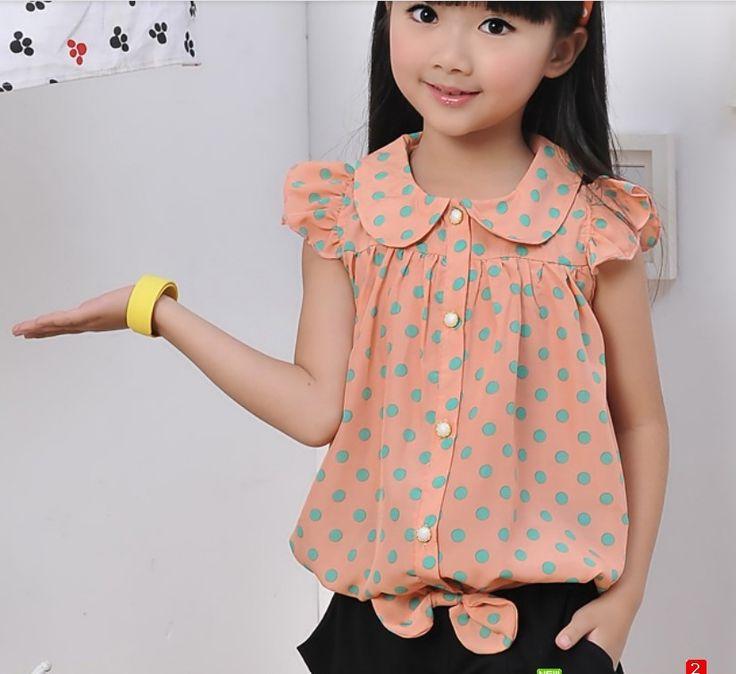 Девочка лето блузка, Женское дети рубашка дети лето короткая   рукав верхний рубашка купить на AliExpress