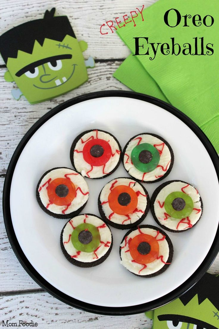 Oreo eyeballs, so easy and the other half of the cookie could be used for dirt with gummy worms