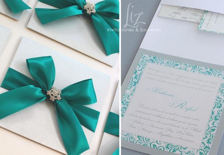 Verde turquesa / turquoise green Wedding Invitations by Liz Invitaciones