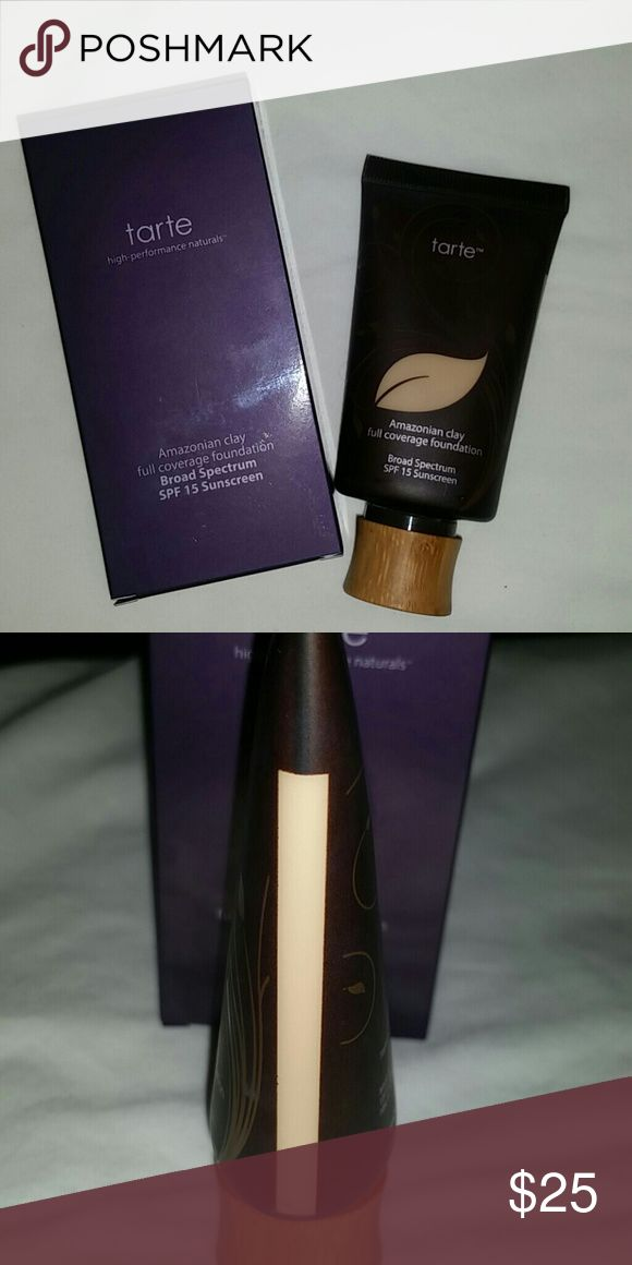 Tarte Amazonian clay foundation fair sand Used a few times. It is not that great of a match for me so I don't reach for it.   Color: fair sand. Fair skin with yellow undertones.  Please let me know if you have any questions or would like additional pictures. Thank you! tarte Makeup Foundation