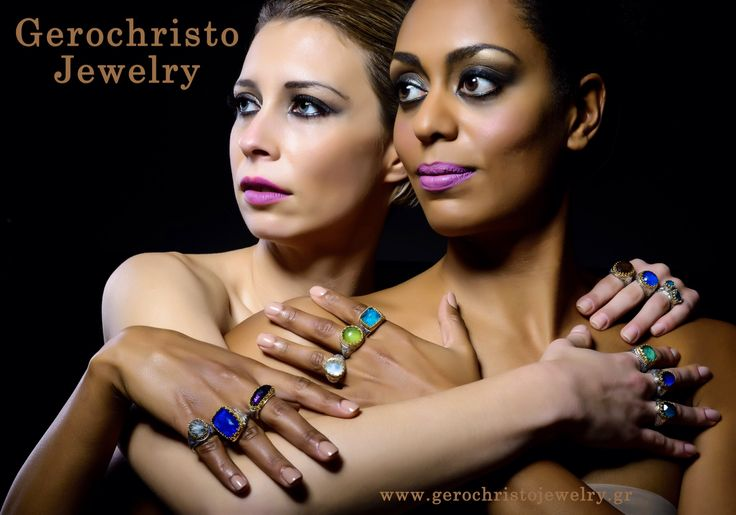 Gerochristo Jewelry Aegean colors collection Rings with Gold 18k, Sterling silver, lapis,prinitis,amethyst,apatite,mother of pearl.