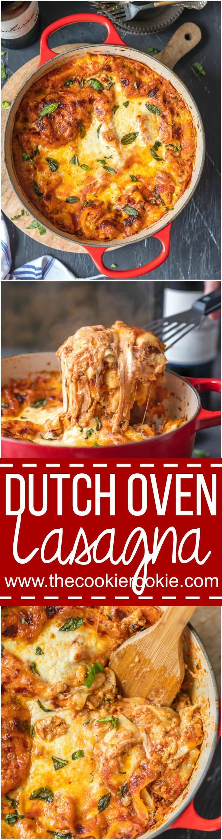 This DUTCH OVEN LASAGNA will blow your mind! You'll never make traditional lasagna again after making this easy stove-top version. We are addicted to this recipe! via @beckygallhardin (Whats Your Favorite Drink)