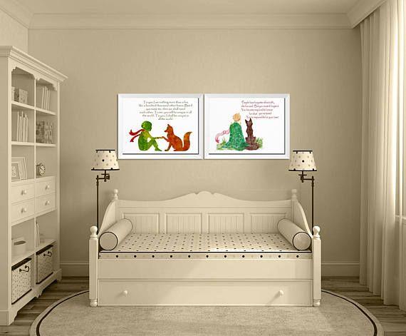 Kinderkamer kunst aan de muur, Set van 2 Prints, kleine prins citaat, kwekerij Print Set, Fox Baby Shower, kleine prins Fox, kwekerij prenten, Decor van het huis Wall Art Alle mijn prints zijn van hoge kwaliteit en worden professioneel afgedrukt met archival pigment inkt op een zwaargewicht 300-gsm, archivering en zuurvrij papier met een mooie textuur die het gevoel van een echte aquarel illustratie geeft. Alle mijn prints zijn gedrukt op hetzelfde papier dat ik gebruik voor mijn originele…
