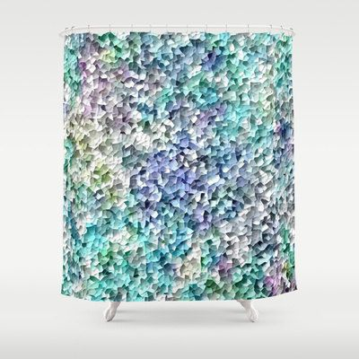 Mosaic shower curtain teal aqua purple yellow green blue for Blue and grey bathroom sets