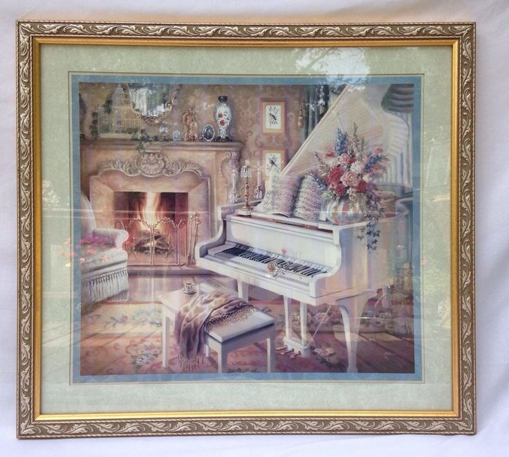 Large Homco Home Interiors Gold Framed Print Grand Piano Fireplace Flowers Scarf