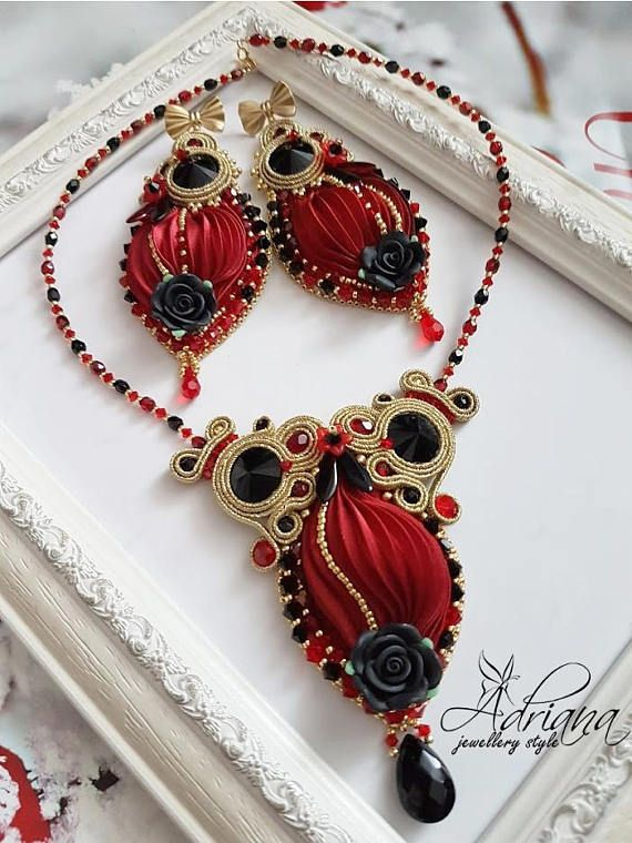Red Black Silk Shibori Earrings With Gold Soutache And Swarovski Crystals. These embroidered earrings were created with beautiful red colour silk shibori ribbon, high quality gold sparkle soutache, Rhinnes crystal black rivoli, Swarovski Crystals bicone beads in red and black