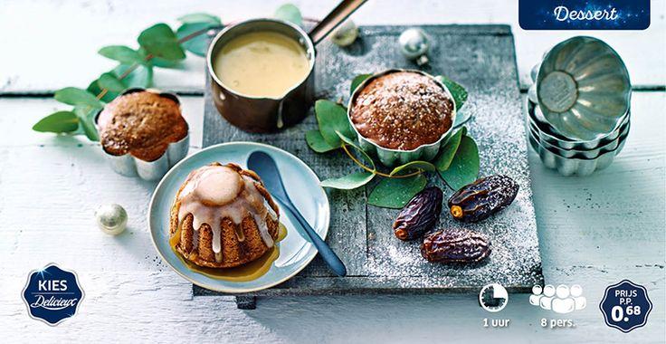 Sticky toffeetaartjes met Medjoul dadels en crème anglaise #Lidl #Delicieux #Kerst