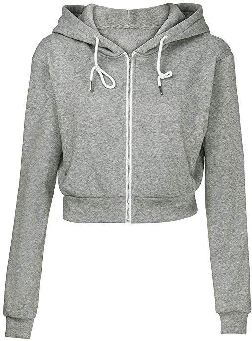 8161e920 Amazon.com: Orangeskycn Women Sweatshirt Full Zip Crop Hoodie Tops ...