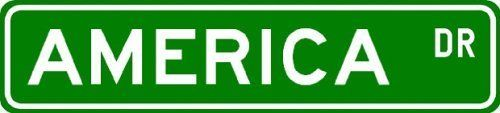 AMERICA Street Sign ~ Personalized Family Lastname Novelty Sign ~ Gameroom, Basement, Garage Sign ** Aluminum 4 x 18 - 4 x 18 inches by The Lizton Sign Shop. $10.99. Made in USA. Aluminum Brand New Sign. Predrilled for Hanging. 4 x 18 inches. Rounded Corners. AMERICA Street Sign ~ Personalized Family Lastname Novelty Sign ~ Gameroom, Basement, Garage Sign ** Aluminum 4 x 18. Made of Aluminum and High Quality Vinyl Letters and Graphics. This sign is 4 x 18 inches. Made to ...