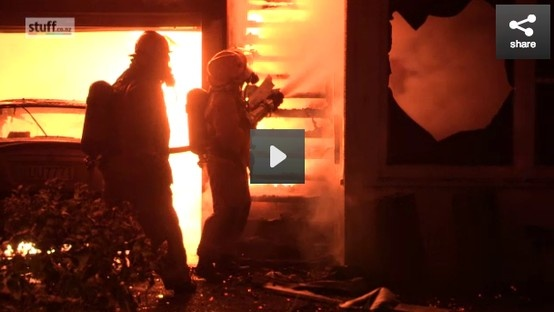 A two storied family home in Raumati South was completely destroyed by fire within minutes of neighbors calling fire brigade.