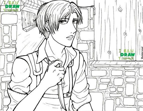 Levi Ackerman Attack On Titan Colouring Page By