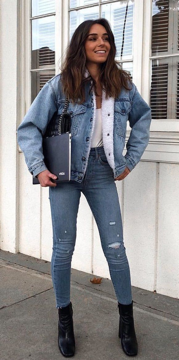 13528602c797 #winter #outfits white top, blue denim jacket and jeans! Double Denim is my  new fashion love | Great fashionable outfit idea for stylish women.