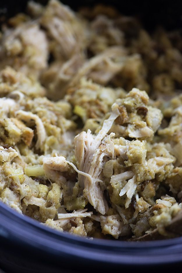 This crock pot chicken and stuffing is the easiest comfort food you'll ever make! Toss everything into the slow cooker and let the magic happen! Alright, so I don't want to alarm anyone, but I often eat a bowl of Stove Top Stuffing for breakfast. Hold up. Don't leave me. I swear I'm not insane. …