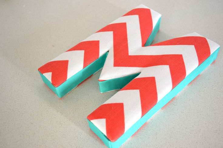 aqua and coral fabrics | ... WALL ART - Fabric Letter M in Coral Chevron with Turquoise Ribbon
