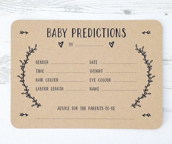 A beautiful set of Gender-Neutral Baby Prediction Cards. An exciting way to engage everyone at Baby showers and a nice keepsake for the mum-to-be afterwards. The simple and rustic design allows them to work with a variety of themes.  Baby Prediction Pack Includes x10 cards  Invitations are professionally printed on to 280gsm recycled cairn eco kraft. Hand finished with rounded corners. Dimensions of each card are 5x7 inches.  Item comes in a cellophane bag for protection and easy storage…