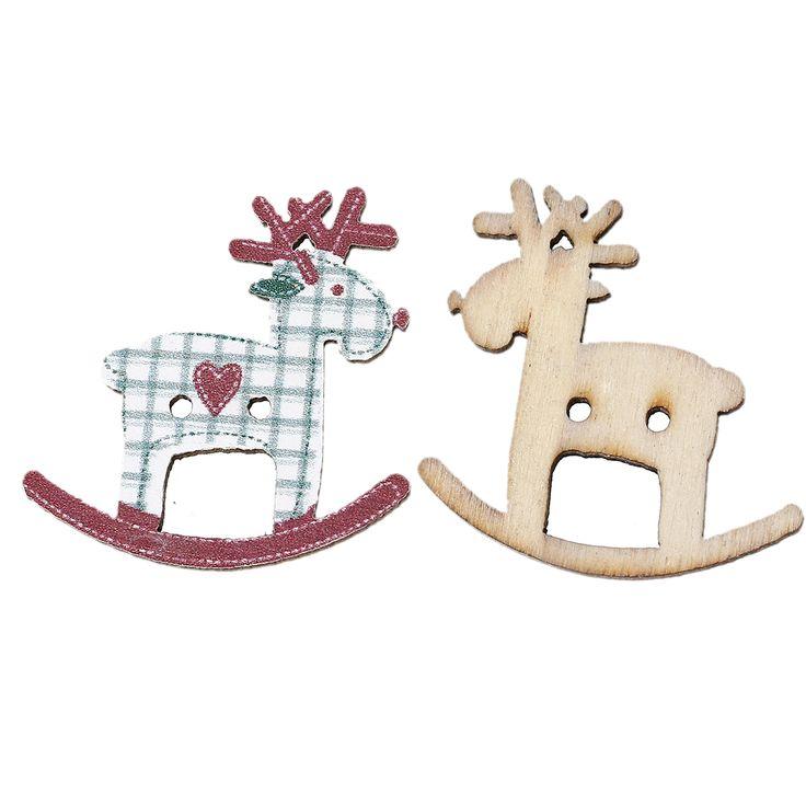 DoreenBeads Reno de la Navidad Rojo Oscuro Dos Agujeros Botón de Costura de Madera Scrapbooking Patrón Reticular 29x28mm, 5 Unids 2015 nuevo