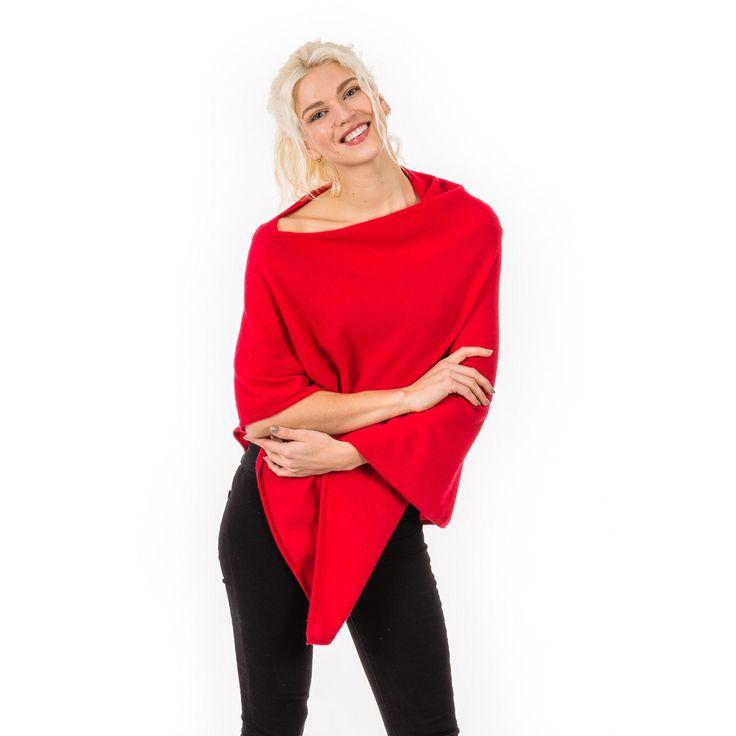 Cashmira Classic Poncho Rød