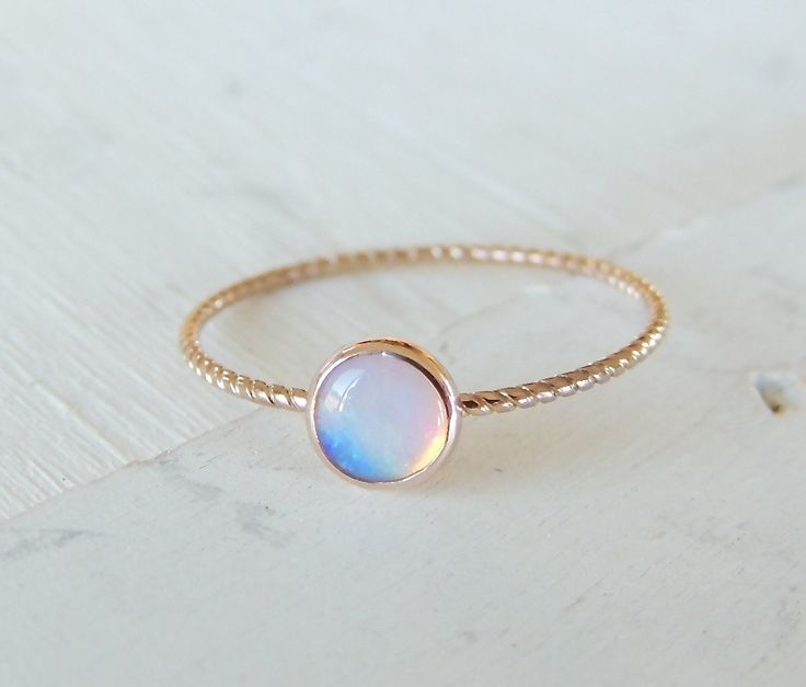 Opal Ring, Opal Gold Ring, Glowing Opal Ring, 14k Gold Ring, Nautical Ring, Stacking Ring, Rose Gold Ring, Christmas Gift, Engagement Ring by Luxuring on Etsy