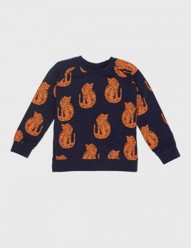 Blå tiger genser fra Mini Rodini 95% organisk bomull, 5% Elastan. GOTS sertifisert Bomullen er Fairtradesertifisert.  Mini Rodini er et Stockholmsbasert barnemerke for alle barn 0-11 år. Etablert i 2005 som en hyllest til alle barn, deres fantasi og følelse av at alt er mulig.