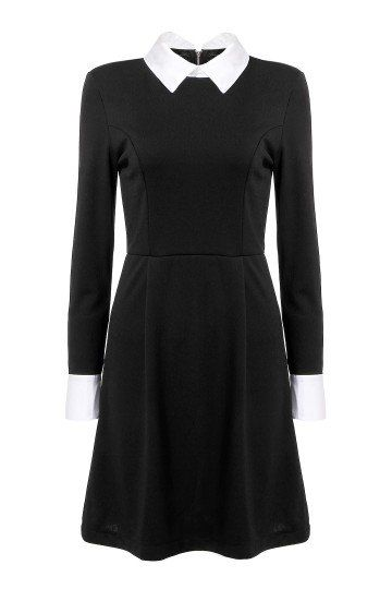 Wednesday Addams inspired black and white collared dress