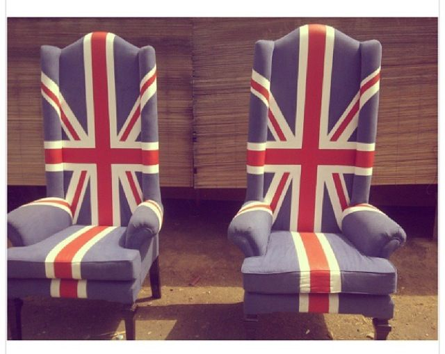 King chair....with suede material and flag painting