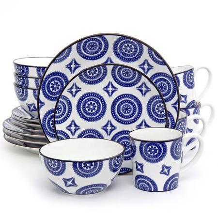 Gibson Studio Talis 16-Piece Dinnerware Set, Blue with Brown Rim