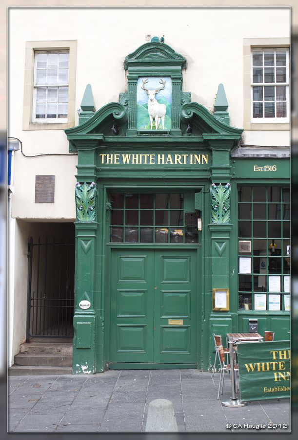The White Hart Inn in Edinburgh's Grassmarket, the oldest pub in Edinburgh dating from 1516. I would really pass through that green door.