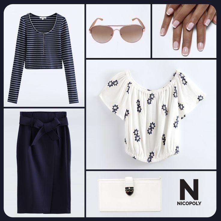 Elige con que combinar esta falda Nicopoly. Peto o blusa más holgada.