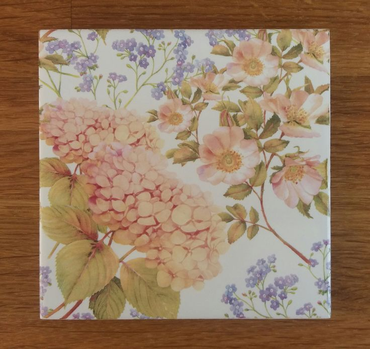 Decorative Ceramic Wall Tiles. Hydrangea floral patterned decorative ceramic wall tile by Floral Tiles  Originally hand painted in watercolours Use several to create a larger pattern 31 best Ceramic Wall with Flower Designs