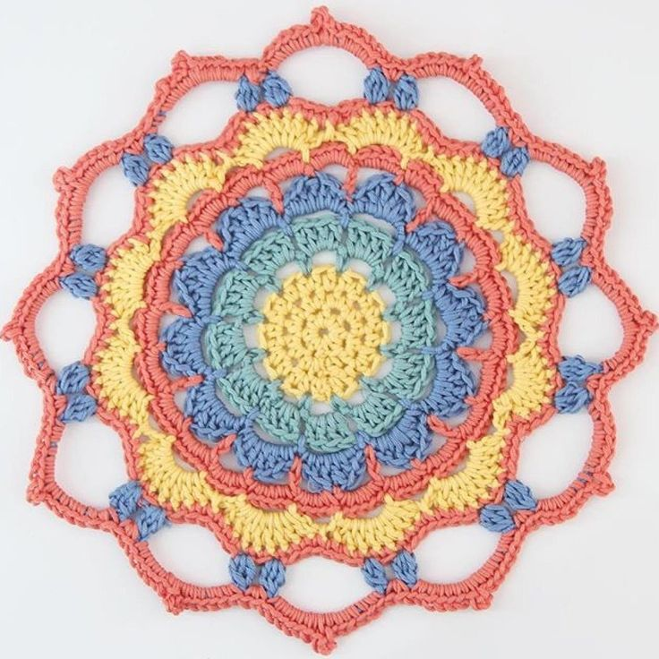 A bright and simple mandala pattern made from DMC Natura Just Cotton. It can easily be made with any yarn and corresponding hook. Perfect for table decorations or dream catchers. Enjoy. xx