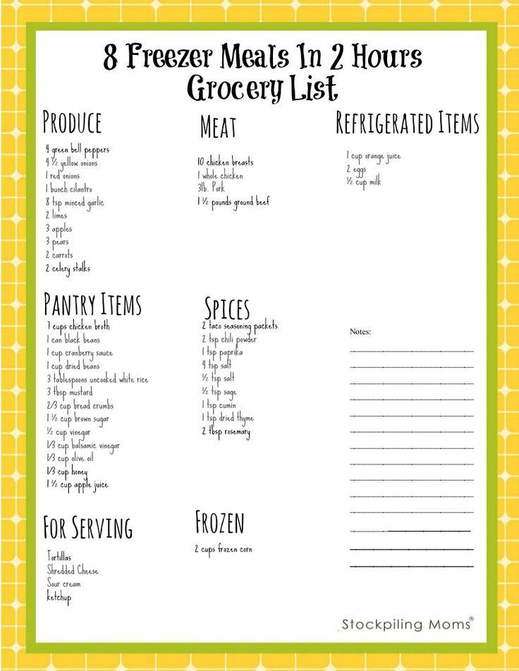 8 Freezer Meals In 2 Hours Grocery List