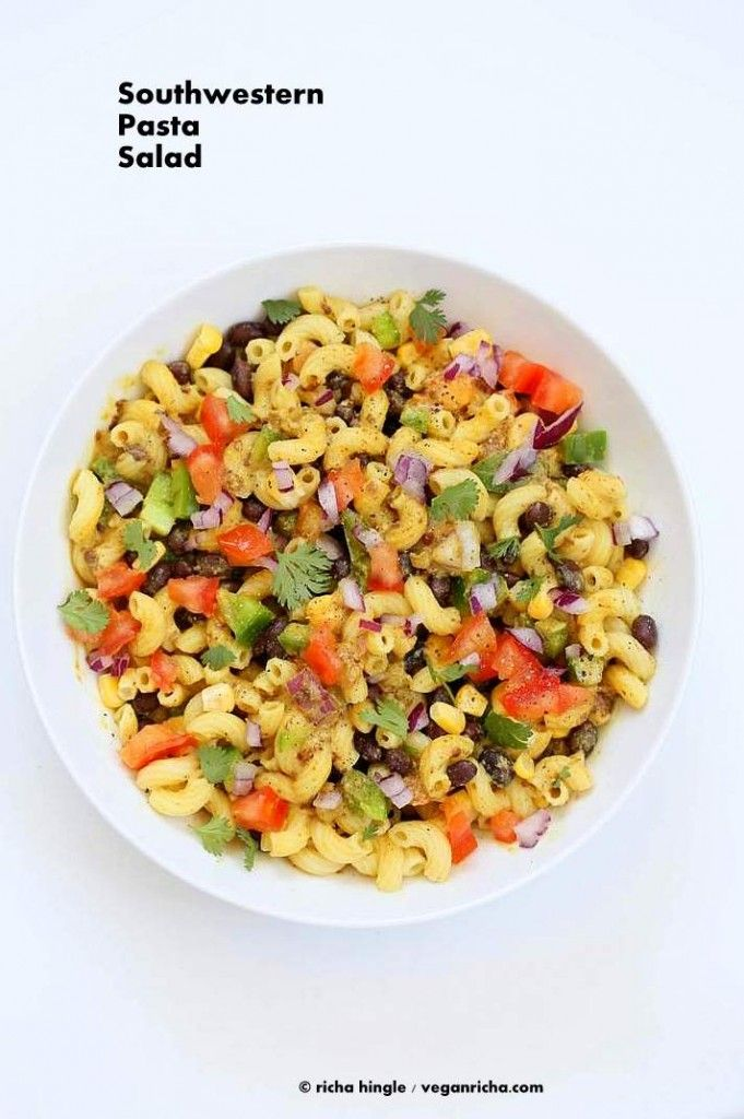 How to make easy Vegan Southwestern Pasta Salad with Mac , black beans, veggies tossed in a creamy sauce made with beans. Free of Dairy, egg, soy, nut, oil.