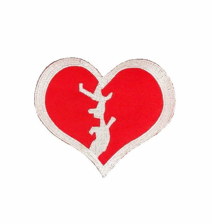 Broken Heart Embroidered Patch Love Romance Iron On Applique Punk Cute Emoji Red #Embroidered