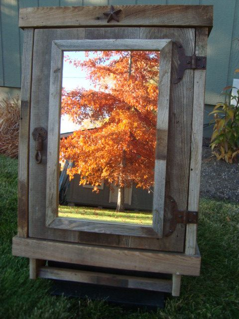 Reclaimed Rustic Medicine Cabinet With Mirror Mirrors Pinterest Bathroom Cabinets And