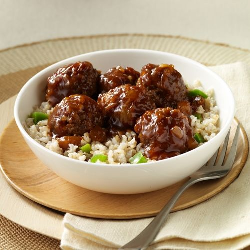 Hawaiian Meatballs and Rice: Tender meatballs simmered in barbecue sauce and crushed pineapple and served with rice for a taste of Hawaii