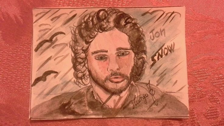 Aceo Kit Harington watercolour 2.5x3.5 inch # GAME OF THRONES ��������☺☺