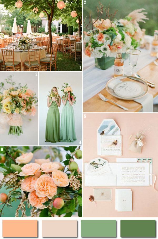 pink peach and green 2014 popular wedding color ideas